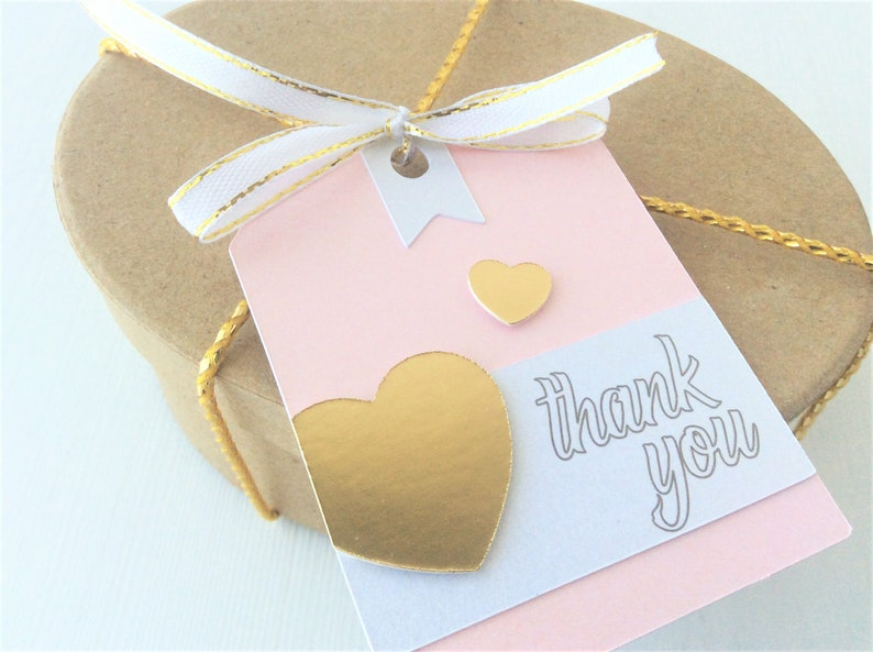Pink Gold 12 Thank You Tags Thank You Favor Tags Pink Gold image 0