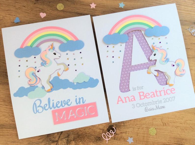 Set of 2 Unicorn Nursery Signs Girls Personalized Unicorn image 0