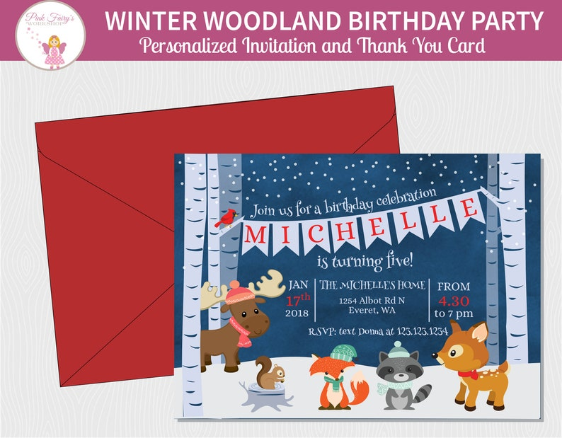 Winter Woodland Birthday Invitation and Thank You Card Winter image 0