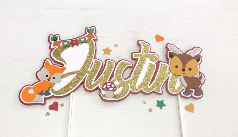 Woodland Name Cake Topper Woodland Fall 1st Birthday Party image 0