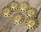 Antique set of 6 gilt repoussé brass decorations with detailed classical motifs for decorating furniture