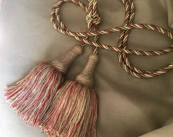 Vintage Red Tassels w//Rope Strands Tied off with Gold Metalllic Thread French