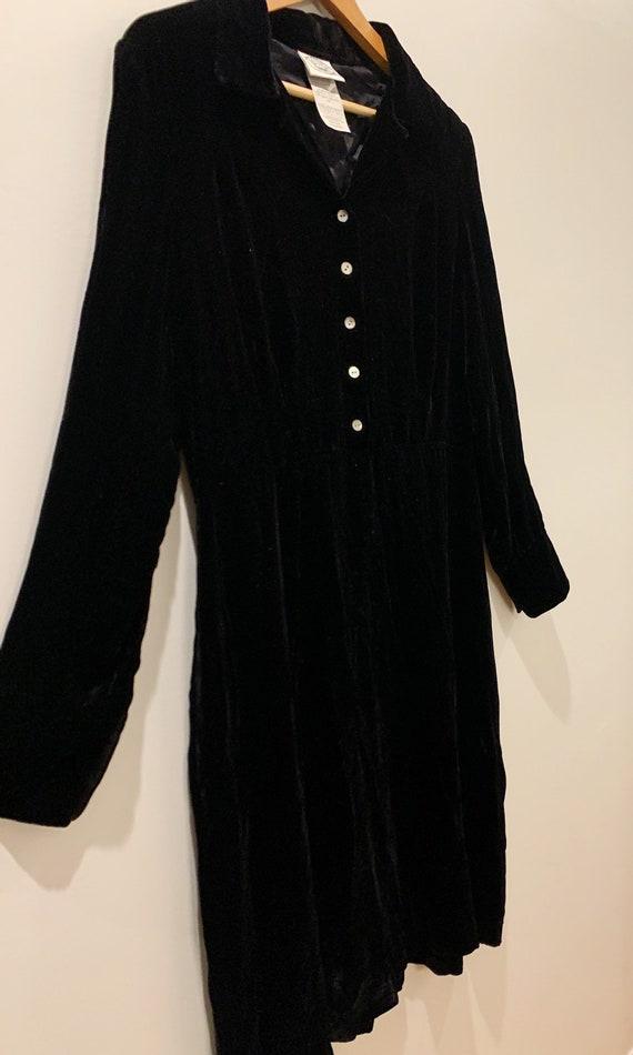 Vintage 90s Laura Ashley Black Velvet Dress, Mini… - image 5