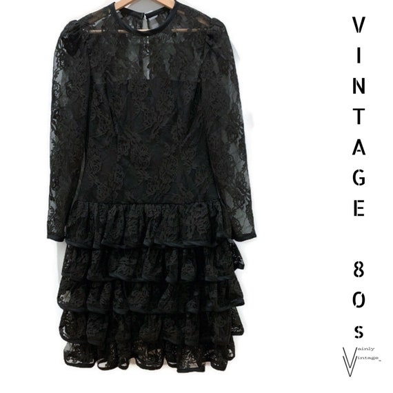 Vintage 80s Ruffled Lace Dress