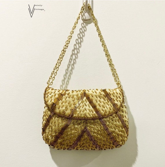 Vintage 50s Fine Arts Bag Co. Gold Beaded Handbag/