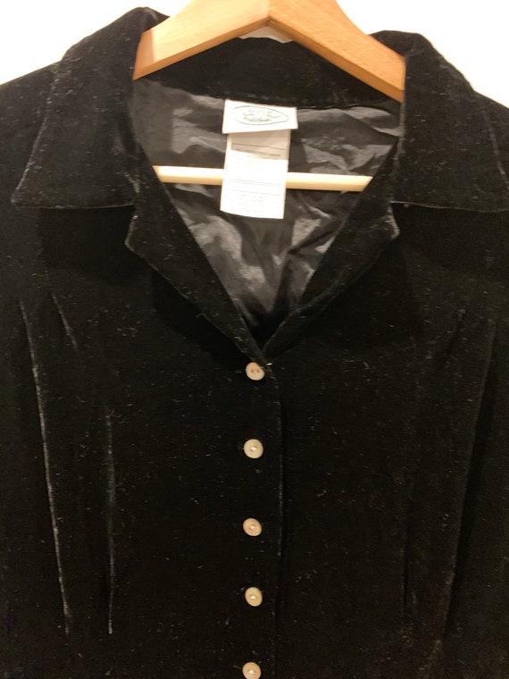 Vintage 90s Laura Ashley Black Velvet Dress, Mini… - image 7