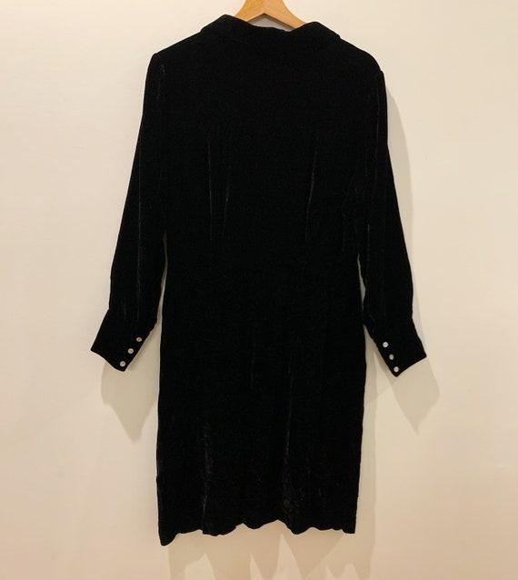 Vintage 90s Laura Ashley Black Velvet Dress, Mini… - image 2
