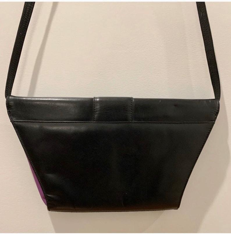 Vintage 70s Leather Colorblock Crossbody Bag