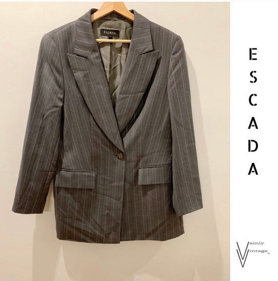 Vintage 90s Escada Oversized Wool Pinstriped Blaze