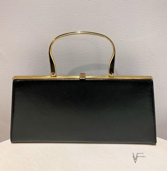 Vintage 50s Block Black Top Handle Leather Handbag
