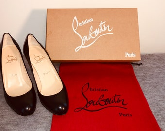 2e9e9e1d6c052 AUTHENTIC CHRISTIAN LOUBOUTIN Black Simple Pump Kid Leather Size 6 (36).  Only Worn Once!! Dust Bag & Box Included. Free Shipping. 85mm Heel