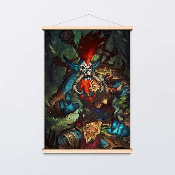 Voljin Poster 03 - Warcraft Canvas Hanging and Wooden Hanger Art Frame - Ready to Hang - Warcraft Poster Wall Art for Your Home Decor