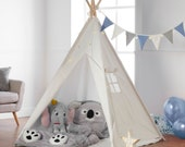 TeePee with Fairy Lights, Bunting Free Waterproof Base, 160cm Kids Tipi Tent Tienda Tenda - CE certified - 120 120 160cm