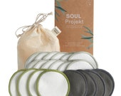 20 x Reusable Make Up Remover Pads, 3 Layers, Washable Organic Bamboo Cotton, Mesh Laundry Bag, Eco-Friendly, Zero Waste, Soul Projekt