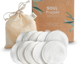 10 x Reusable Make Up Remover Pads, 5 x Velour & 5 x Terry Bamboo Cotton, 3 Layers, Washable, Mesh Laundry Bag, For All Skin Types (8cm)