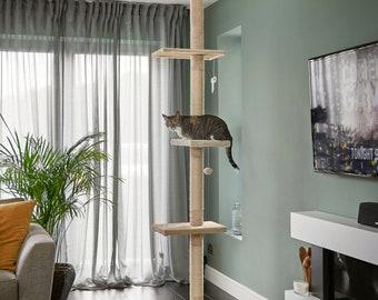 Floor to Ceiling Cat Tree Beige Cat Scratch Post: Height between 240cm - 288cm, Runesol Cat Tower