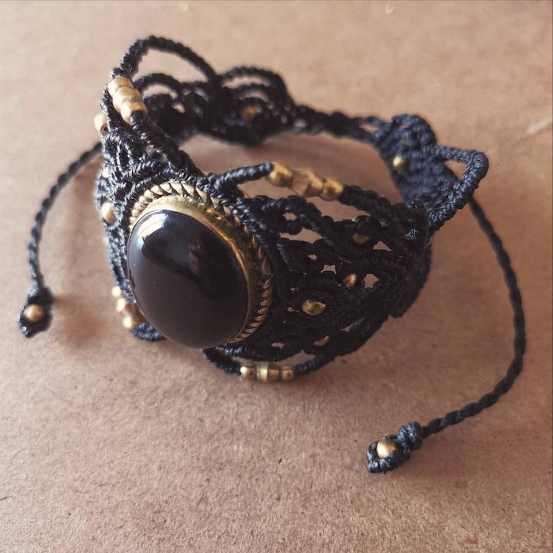 black lace Adjustable cuff bracelet hand-woven macram\u00e9 fine obsidian stone and brass