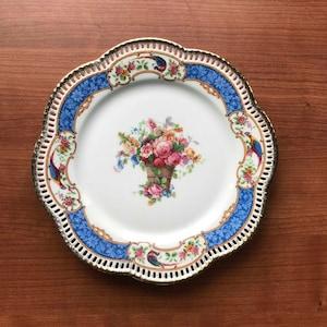 Shabby chic set of three vintage Bavarian Tirschenreuth saucers with bright floral pattern /'Fairmount/' design