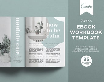 Canva Ebook Template, Workbook Template, Mindfulness Course Workbook, Wellness Course Ebook, Health Ebook, Online Course Workbook Template