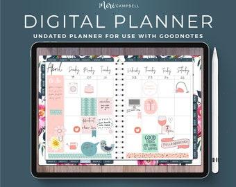 iPad Planner, Undated Digital Planner, Digital Trackers, Digital Journal, Pink iPad Journal, Goodnotes Digital Planner, Goodnotes Planner
