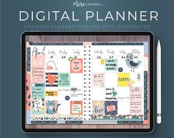 Digital Planner, Undated Digital Planner for GoodNotes, Digital Stickers, iPad Planner, Weekly Planner, Landscape Planner, INSTANT DOWNLOAD