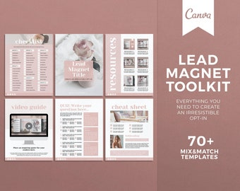 Lead Magnet Bundle, Canva Template, Workbook Templates, Cheat Sheets, Opt-In Freebie Templates, Content Upgrade Template, Ebook Template