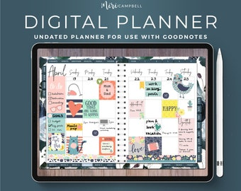 Digital Planner, iPad Planner, Goodnotes Planner, Navy Roses Digital Planner, Undated Digital Journal, Goodnotes Template, Undated Planner