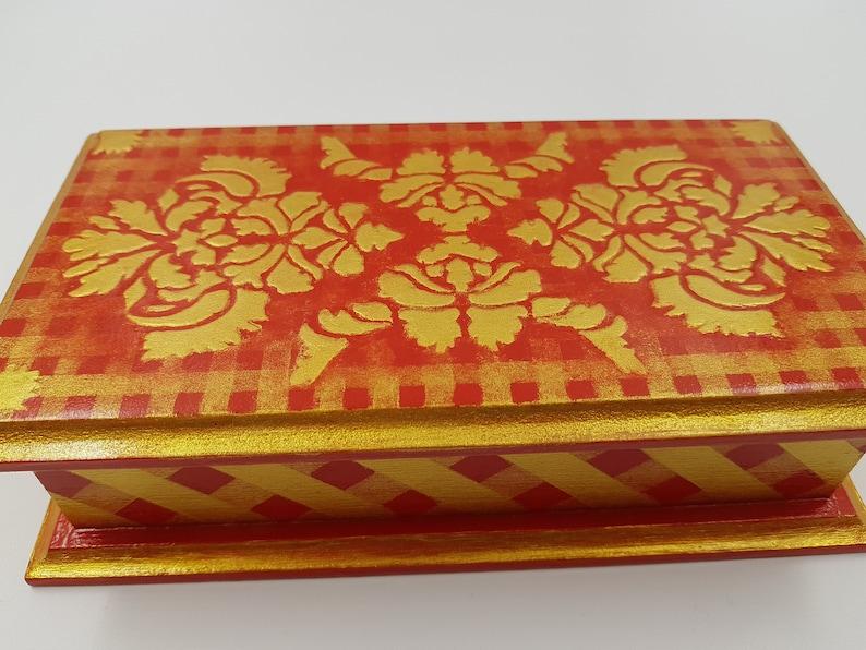 Jewelry box gold Wooden box Gift for her Jewelry organizer box red Trinket box