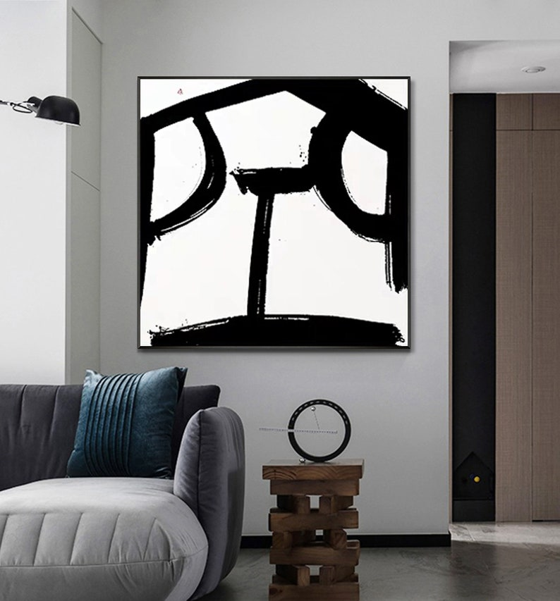 Minimalist painting on canvas Black and White canvas art oversized wall art canvas black and white painting black canvas painting art