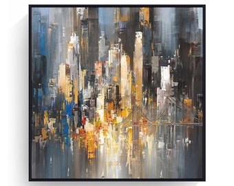 Large City abstract painting New York painting big cityscape brooklyn bridge yellow painting urban abstract night city painting on canvas