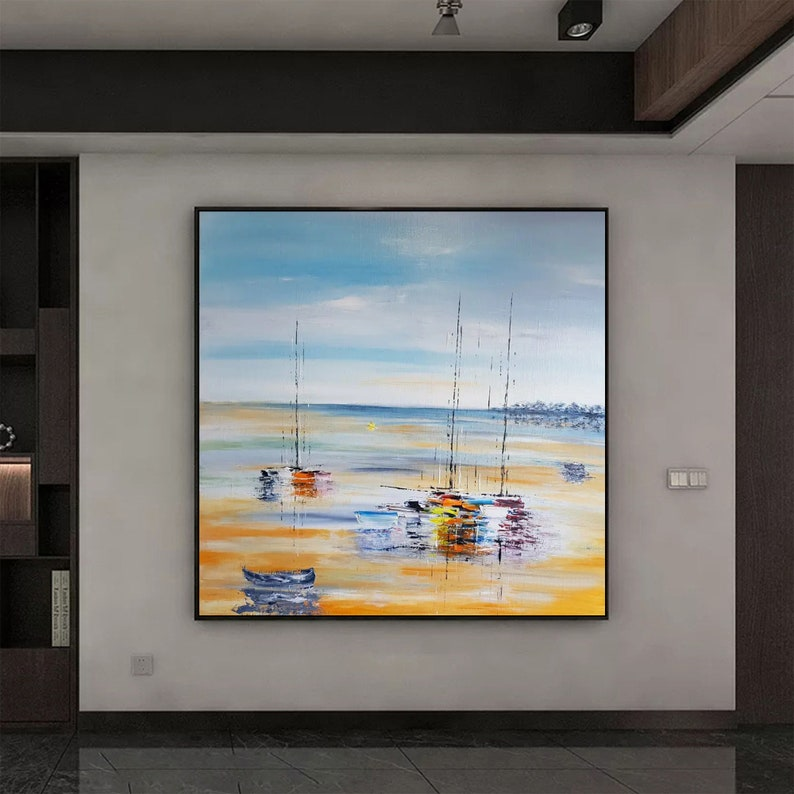 Large ocean sunset painting sailboat painting coastal painting beach sunset painting sea abstract painting nautical painting nautical art