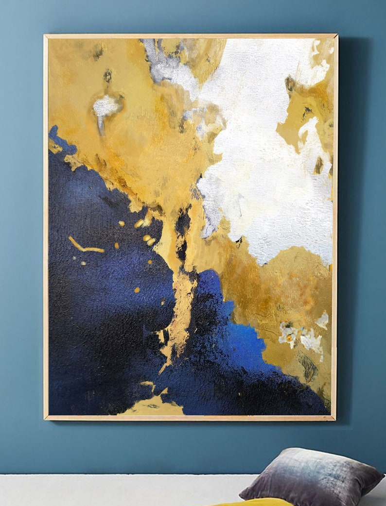 yellow painting canvas Large Abstract Wall Art canvas Large Painting on Canvas original abstract painting yellow painting seascape painting