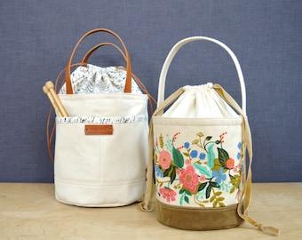 Bucket Bag Sewing Pattern, Project Bag Pattern, Easy Bucket Bag, VIDEO, Drawstring Project Bag, Knitting Bag Pattern, PDF File