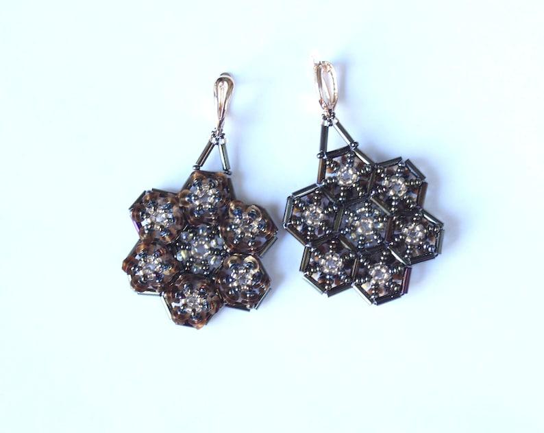 Flower Earrings Boho Beaded Earrings Seed Bead Earrings Dangle Geometric Earrings Statement Jewelry