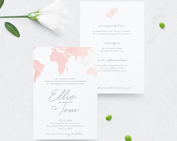 Template Ibiza Wedding Invitation Templett TemplateTravel Wedding InvitePrintable A6Watercolour Map PostcardIbizaAbroad Wedding