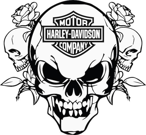 HD Skull Roses, SVG, Cráneo Biker