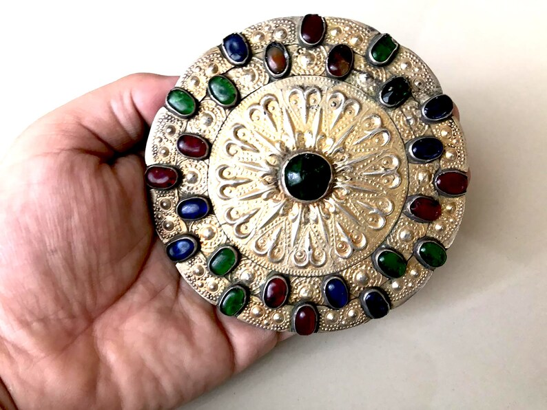 Kochi Ethnic Boho Collectors Turkmen Antique Turkmen Tike Silver and Gold Wash Button