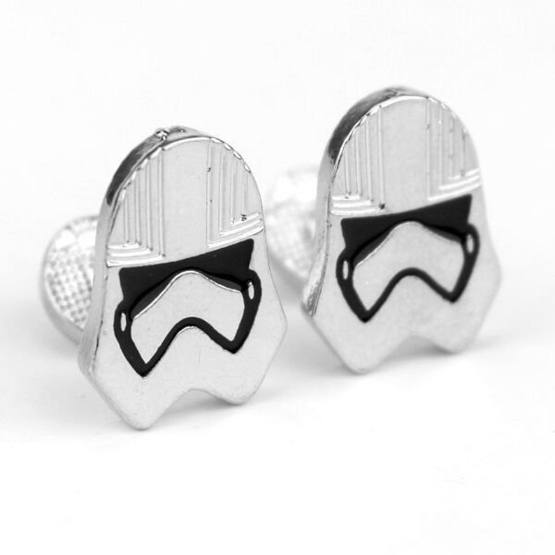 NEW Star Wars Cufflinks Silver Storm Troopers Men Steel Shirt Cuff Links Wedding