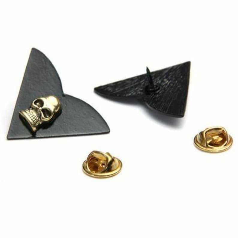 NEW Skull Collar Suit Clip Gold Shirt Pin Stud Jewelry Punk Brooch 1 Pair Set