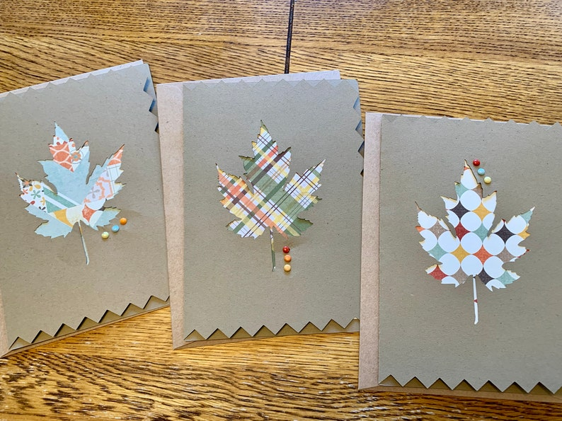 Set of 3 Fall Leaf Blank Note Cards image 0