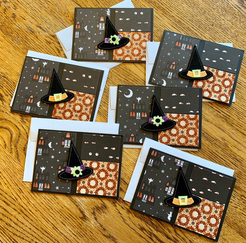 Halloween Witch Note Cards Set of 6 Greeting Cards Witch Hat image 0