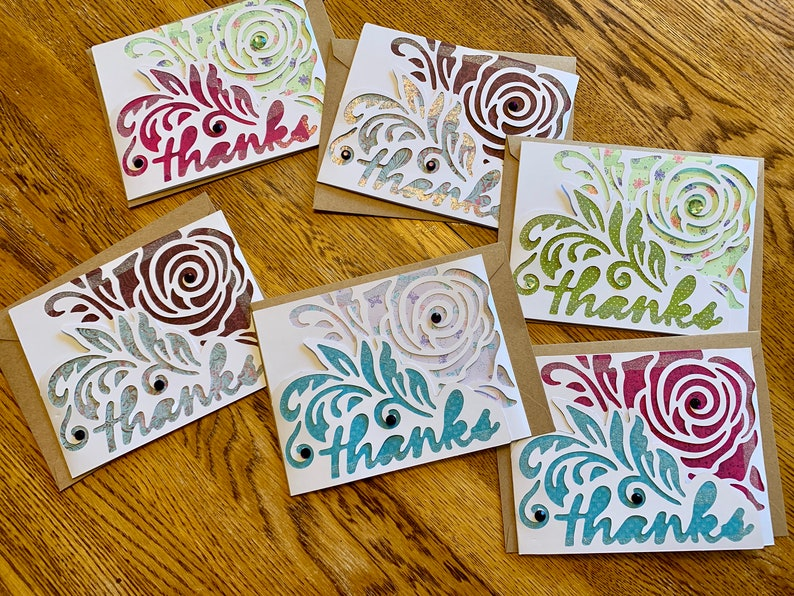 Tri-fold Die Cut Thanks Cards  Set of 6 image 0