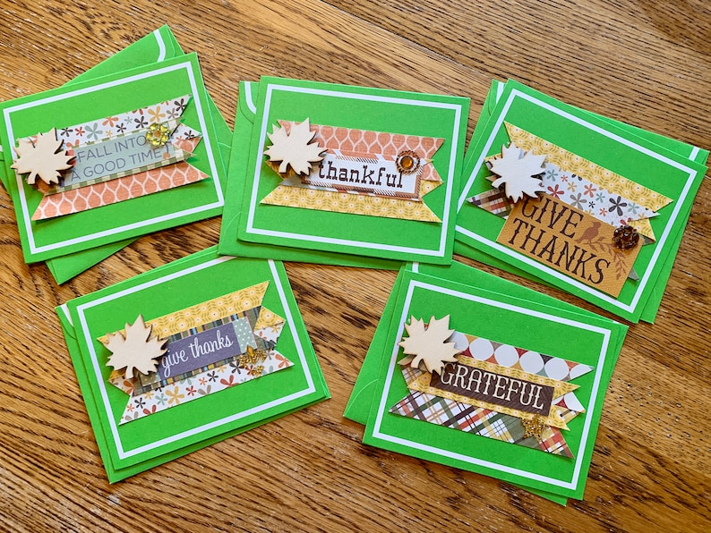 Thanksgiving Fall/Autumn Note Cards Set of 5 Greeting Cards image 0
