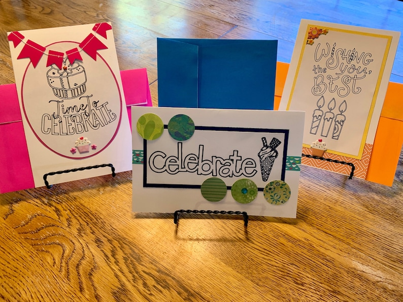 Large Birthday Greeting Cards  Set of 3 image 0