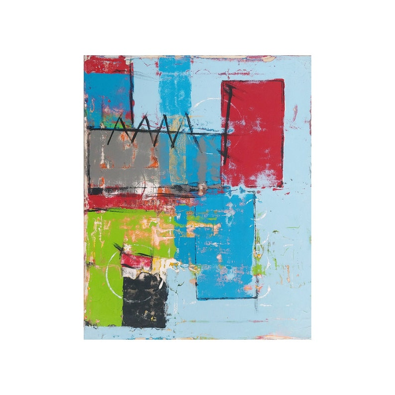Egyptian Ruins Abstract Art Original Painting On Canvas Bold image 0