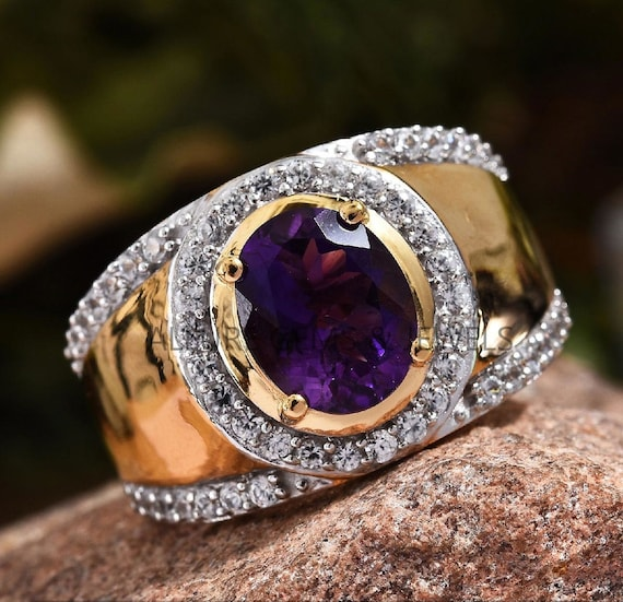 Cocktail Ring Gift For Him Natural Amethyst Ring For Men in 925 Sterling Silver Stylish Wedding Engagement Ring AAA Quality Gemstone Ring