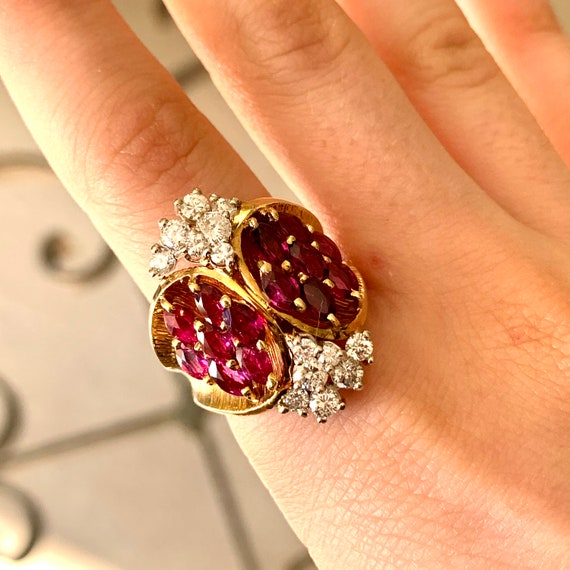 Impressive Ruby & Diamond 1960's Cocktail Ring - image 1