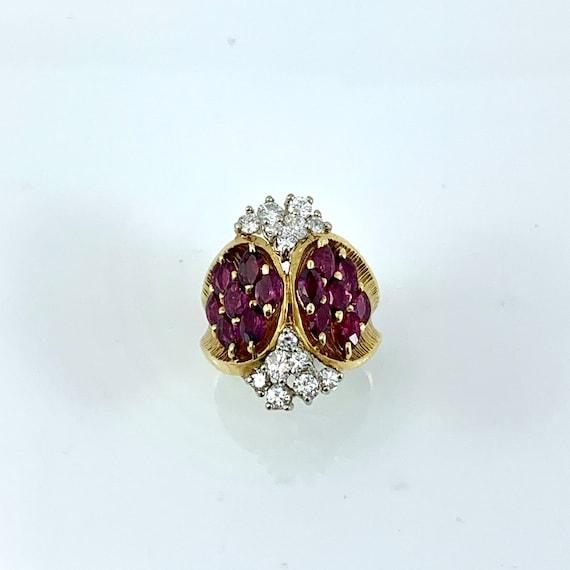 Impressive Ruby & Diamond 1960's Cocktail Ring - image 3