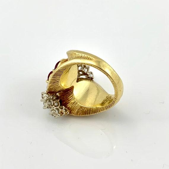 Impressive Ruby & Diamond 1960's Cocktail Ring - image 5