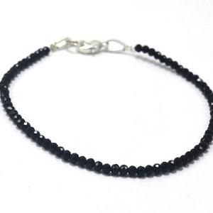 Black Tourmaline Jewelry Bracelet Faceted Dainty Tourmaline Jewellery Black Tourmaline 3-4mm Jewelry Bracelet Beaded Tiny Bracelet